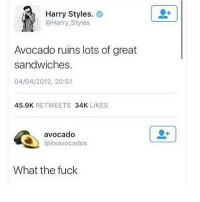 Memes, Avocado, and Fuck: Harry Styles.  @Harry Styles  Avocado ruins lots of great  sandwiches.  04/04/2012, 20:51  45.9K RETWEETS 34K LIKES  avocado  @itsavocados  What the fuck @instaalcoholic is one of my favourite accounts!!