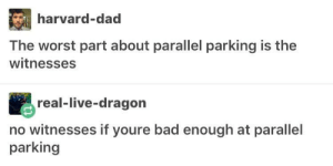 Bad, Dad, and The Worst: harvard-dad  The worst part about parallel parking is the  witnesses  real-live-dragon  no witnesses if youre bad enough at parallel  parking hit and park