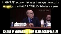 Memes, American, and Harvard: HARVARD economist says immigration costs  Americans a HALF A TRILLION dollars a year  Dr. George Borjas  Dr.Geoing't Bgrjs  Mr.  SHARE IF YOU AGREE THI  S IS UNACCEPTABLE! Harvard Professor, Dr. Borjas explains how immigration costs American workers half a TRILLION dollars every year.