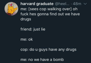 That should do the trick by Shiny244 MORE MEMES: harvard graduate @heel... · 48m  me: [sees cop walking over] oh  fuck hes gonna find out we have  drugs  friend: just lie  me: ok  cop: do u guys have any drugs  me: no we have a bomb That should do the trick by Shiny244 MORE MEMES