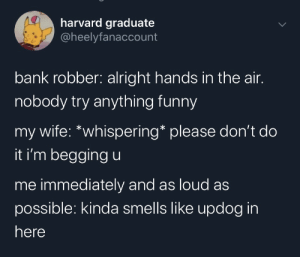 meirl: harvard graduate  @heelyfanaccount  bank robber: alright hands in the air.  nobody try anything funny  my wife: *whispering* please don't do  it i'm begging u  me immediately and as loud as  possible: kinda smells like updog in  here meirl