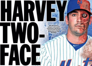 New York Mets Memes: HARVEY  TWO-  FACE  After full season of  saying he wants to pitch  in postseason, Matt Harvey  seemed to balk Saturday  at throwing more than  180 innings