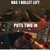 HAS 1 BULLET LEFT  PUTS TWO IN  1840  1840  4400 Gotta love video game logic! #CallOfDuty www.memecenter.com/fun/2939225/call-of-duty-logic  Check out more of these at http://plus.google.com/+memecenter