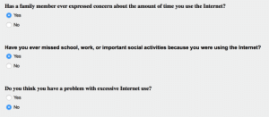 Family, Internet, and School: Has a family member ever expressed concern about the amount of time you use the Internet?  Yes  No  Have you ever missed school, work, or important social activities because you were using the Internet?  O Yes  No  Do you think you have a problem with excessive Internet use?  Yes  ONO meirl