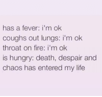 Fire, Hungry, and Life: has a fever: i'm ok  coughs out lungs: i'm ok  throat on fire: i'm ok  is hungry: death, despair and  chaos has entered my life
