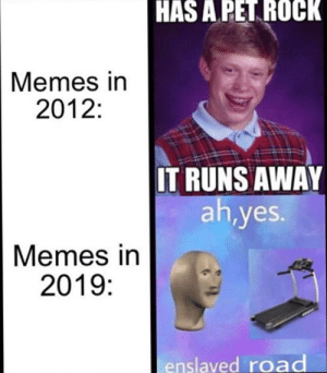 #funny #humor #lol #jokes #dank #memes #meme: HAS A PET ROCK  Memes in  2012:  IT RUNS AWAY  ah,yes.  Memes in  2019:  enslaved road #funny #humor #lol #jokes #dank #memes #meme