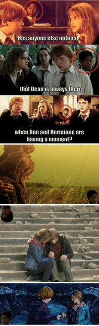Hermione, Moment, and Always: Has anyone else noticet  that Dean is always there  when Ron and Hermione are  having a moment: .