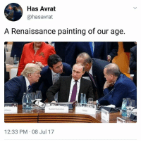 Love, Memes, and 🤖: Has Avrat  @hasavrat  A Renaissance painting of our age.  ussian Federation  d States  12:33 PM 08 Jul 17 Love art. | Follow @aranjevi for more!