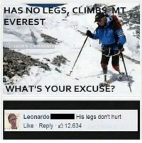 Summer, Dank Memes, and Everest: HAS NOLEGS, CLIMBS MI  EVEREST  WHAT'S YOUR EXCUSE:  LeonardoHis legs don't hurt  Like Reply 12.634 When does summer end for y'all?