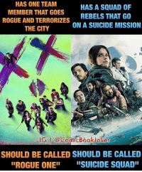 """Movie Logic😂😂 (It's just a joke, not meant to be taken seriously) Pic via: @comicbookjokes rogueone suicidesquad starwars anewhope empirestrikesback returnofthejedi darthvader princessleia margotrobbie harleyquinn deadshot willsmith joker jaredleto batman batfleck benaffleck brucewayne batmanvsuperman dceu: HAS ONE TEAM  HAS A SQUAD OF  MEMBER THAT GOES  REBELS THAT GO  ROGUE AND TERRORIZES  ON A SUICIDE MISSION  THE CITY  IG COComicBook Jokes  SHOULD BE CALLED SHOULD BE CALLED  IROGUE ONEII  IISUICIDE SQUAD"""" Movie Logic😂😂 (It's just a joke, not meant to be taken seriously) Pic via: @comicbookjokes rogueone suicidesquad starwars anewhope empirestrikesback returnofthejedi darthvader princessleia margotrobbie harleyquinn deadshot willsmith joker jaredleto batman batfleck benaffleck brucewayne batmanvsuperman dceu"""