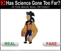 Fake, Image, and Science: Has Science Gone Too Far?  IS THIS IMAGE REAL OR FAKE?  REAL  FAKE <p>has sanic gone to fezt?</p>