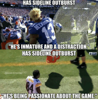 "Nfl, The Game, and Game: HAS SIDELINE OUTBURSTx  FOX  NFL  ""HES INMATURE AND ADISTRACTION  HAS SIDELINE OUTBURST  NFL  @bestnfilmemez  HE'S BEING PASSIONATE  ABOUT THE GAME 🤔🤔🤔 https://t.co/5gdQfOhuq6"