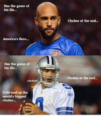 Tim Howard vs. Tony Romo! #USMNT #Cowboys: Has the game of  his life...  America's Hero...  Has the game of  his life...  NFLMEMEL  Criticized as the  world's biggest  choker...  Chokes at the end...  chokes at the end... Tim Howard vs. Tony Romo! #USMNT #Cowboys
