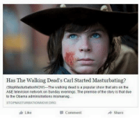 Walking Dead Carl Meme: Has The Walking Dead's Carl Started Masturbating?  (StopMasturbationNOW)--The walking dead is a popular show that airs on the  A&E television network on Sunday evenings. The premise of the story is that due  to the Obama administrations mismanag...  STOPMASTURBATIONNOW ORG  Like  Comment  A Share