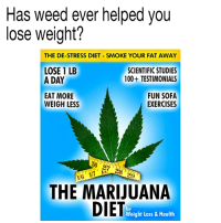 The weed diet @dankcity: Has weed ever helped vou  lose weight?  THE DE-STRESS DIET SMOKE YOUR FAT AWAY  LOSE 1 LB  A DAY  SCIENTIFIC STUDIES  100+ TESTIMONIALS  EAT MORE  WEIGH LESS  FUN SOFA  EXERCISES  26 27 28 29  6  THE MARIJUANA  DIET  for  Weight Loss & Health The weed diet @dankcity