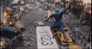 In The Avengers (2012), Captain America jumps on a bus with the number 1123 written on it. It might be a reference to Earth-1123 where Spider-Man would join the Fantastic Four making the group the Fantastic Five.: HaSanMDD  1123 In The Avengers (2012), Captain America jumps on a bus with the number 1123 written on it. It might be a reference to Earth-1123 where Spider-Man would join the Fantastic Four making the group the Fantastic Five.