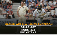 Memes, Good, and Record: HASHIM AMLA vs JAMES ANDERSON  BALLS -697  RUNS 372  WICKETS 2 Hashim Amla has a good record against James Anderson.