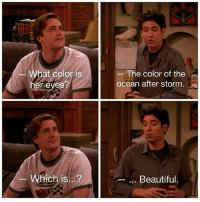 Beautiful, Memes, and Ted: hat coloris  reyes?  The color of the  ocean after storm  Which is...?  .. Beautiful Ted 😂 #HIMYM https://t.co/dknwlKmbN2