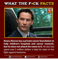keanu reeves: HAT THE FCK FACTS  FACTS  Higher Perspective  mageso  Keanu Reeves has a private cancer foundation to  help children's hospitals and cancer research,  but he does not attach his name to it. He also has  spent over 5 million dollars o help his sister in her  fight against leukemia.  E FB.com/WhatThe Facts  @WhatTheF Facts  adiplywtffacts