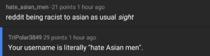 """Me irl: hate_asian men -21 points 1 hour ago  reddit being racist to asian as usual sight  TriPolar3849 29 points 1 hour ago  Your username is literally """"hate Asian men"""". Me irl"""