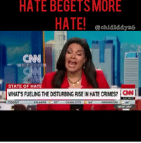 Hate Begets More Hate • A racist tirade over a parking space. • A message for Muslims in a car. • A black Army veteran targeting white officers in Dallas. • A landscaper abused in Los Angeles. Racism and hate is being exposed with cell phones and on social media, but that's not what created it. It's just what captured it. https:-cnn.it-2BGEsCH: HATE BEGETS MORE  @chididdy26  CNN  STATE OF HATE  WHATS FUELING THE DISTURBING RISE IN HATE CRIMES? CA  CNN  TODAY  ATLANTA  57  CHARLOTTE 54  WASHINGTON C44  NEW DAY Hate Begets More Hate • A racist tirade over a parking space. • A message for Muslims in a car. • A black Army veteran targeting white officers in Dallas. • A landscaper abused in Los Angeles. Racism and hate is being exposed with cell phones and on social media, but that's not what created it. It's just what captured it. https:-cnn.it-2BGEsCH