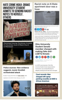 "America, Church, and cnn.com: HATE CRIME HOAX: DRAKE cist note on K-State  UNIVERSITY STUDENT  ADMITS TO SENDING RACIST  NOTES TO HERSELF  OTHERS  apartment door was a  hoax  aんare  LiVe  HATREDS  GREATEST WEAPON IS  By Ann Olamiju and Nick Viviani | Posted: Wed 10:27 PM, Nov 07,2018I  Updated: Thu 4:03 PM, Nov 08, 2018  inlg  MANHATTAN, Kan. (WIBW) The racist note reportedly left  on the door of a Kansas State student was actually put there  by the student himself, University officials said Thursday.  Campus police began investigating the note Monday after the  student posted a picture of it on the door frame of his home  at Jardine Apartments. The note read, ""Beware n***ers live  here! Knock at your own risk.""  Scott Olson/Getty Images  Mississippi Hoaxing: Parishioner Arrested  For November Arson Of Black Church  In Mississippi  Ohio University  Student Senate  member charged with  making fake anti-  LGBTQ threats  Pin  By Jessica Chasmar - The Washington Times  Wednesday, October 10, 2018  An LGBTQ commissioner of the Ohio  University Student Senate Appropriations  Commission was arrested Monday for  allegedly sending herself fake hate messages.  Police sources: New evidence  suggests Jussie Smollett  orchestrated attack  By Ryan Young, Brad Parks and Dakin Andone, CNN  Updated at 3:56 AM ET, Mon February 18, 2019  Court records: Man  charged with spray-  painting swastika at UMD is  African American  Court records: Man who spray-.  painted swastika at UMD is African  American  FOX5"