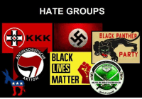 Muslim, Party, and Black: HATE GROUPS  BLACK PANTHER  SCHISTI  PARTY  BLACK  AKTION  MATTER  MUSLIM BROTHERHOOD