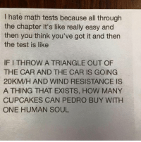Memes, Cupcakes, and 🤖: hate math tests because all through  the chapter it's like really easy and  then you think you've got it and then  the test is like  IFITHROW A TRIANGLE OUT OF  THE CAR AND THE CAR IS GOING  20KM/H AND WIND RESISTANCE IS  A THING THAT EXISTS, HOW MANY  CUPCAKES CAN PEDRO BUY WITH  ONE HUMAN SOUL Math sucks