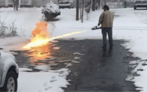 Hate shoveling?? Buy a flame thrower: Hate shoveling?? Buy a flame thrower
