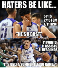 Facts 😂 nba nbamemes lonzoball lakers: HATERS BE LIKE  5 PTS  2/15 FGM  1/113PM  @NBAMEMES  HESA BUST  11 POINTS  11ASSISTS  11REBOUNDS  R5  ITS ONLYASUMMER LEAGUE GAME. Facts 😂 nba nbamemes lonzoball lakers