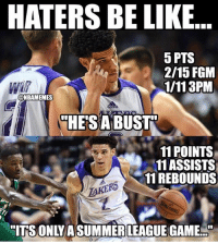 Facts 😂 nba nbamemes lonzoball lakers: HATERS BE LIKE  5 PTS  2/15 FGM  1/113PM  @NBAMEMES  HESABUST  11 POINTS  11ASSISTS  11 REBOUNDS  AKERS  ITS ONLYASUMMER LEAGUE GAME Facts 😂 nba nbamemes lonzoball lakers