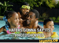 Black kids swimming with dad.: HATERS GONNA SAY ITS  PHOTOSHOPPED  funny Black kids swimming with dad.