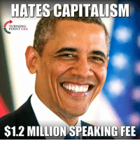 Memes, 🤖, and Usa: HATES CAPITALISNM  TURNING  POINT USA  $1.2 MILLION SPEAKING FEE A Bit Hypocritical... #BigGovSucks