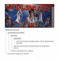 America, Memes, and Omg: hatever-neverming  goforevertonworseobetter  trovesivan  egaingsuts  what kind of school has giant posters of their students thats  just weird  i saw this and just kind of assumed thats how things are in  america  s that not how things are in america  t is not how things are in america I HATE THIS OMG MY OLD SCHOOL WAS LOKE THAT LIKE THEY HAD HUGE POSTERS FEATURING THE VARSITY TEAMS AND IT WAS LIKE PROFESSIONAL HEADSHOTS AND CANDIDS WTHEKC - Max textpost textposts