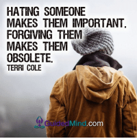 Memes, Forgiveness, and Mind: HATING SOMEONE  MAKES THEM IMPORTANT  FORGIVING THEM  MAKES THEM  OBSOLETE  TERRI COLE  Mind. Com <3 Guided Mind  .