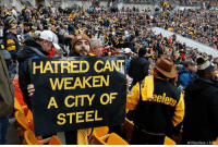 Cleveland Browns, Football, and Memes: HATRED CANT  WEAKEN  A CITY OF  STEEL  AP Photo/Gene J. Puskar A Pittsburgh Steelers fan holds a sign honoring the victims of a deadly shooting spree at a synagogue on Saturday during the second half of an NFL football game between the Pittsburgh Steelers and the Cleveland Browns on Sunday.