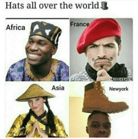 Africa, Memes, and France: Hats all over the worl  France  Africa  Asia  ISTOCKPHOTO  Newyork Doggg! 😂😂😂