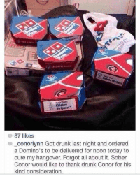 Memes, Strippers, and Hangover: Hatta' Testy  Chicken  Strippers  87 likes  conorlynn Got drunk last night and ordered  a Domino's to be delivered for noon today to  cure my hangover. Forgot all about it. Sober  Conor would like to thank drunk Conor for his  kind consideration Some shit id do😂 . . Follow @hoedity (me) for more 💣💥