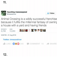 Friends, Memes, and Twitter: haunting masseappeal  Follow  amassedriver  Animal Crossing is a wildly successful franchise  because it fulfills the millennial fantasy of owning  a house with a yard and having friends  RETWEETS LIKES  8,768  12,263  3:09 PM 21 Aug 2016  Twitter: amassedriver  I LIKE OSO 345 COMMENT 15  SHARE  12. comforting tweets