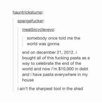 It's impastable to think of a good caption -b tumblrtextpost tumblr tumblrfunny tumblrcomedy textpost comedy me same funny haha hahaha relatable lol fandoms supernatural harrypotter youtube phandom allthehashtags sorryforthehashtags illstopnow: hauntrickstump:  spangefucker:  meatbicyclevevo:  somebody once told me the  world was gonna  end on december 21, 2012. i  bought all of this fucking pasta as a  way to celebrate the end of the  world and now i'm $10,000 in debt  and i have pasta everywhere in my  house  i ain't the sharpest tool in the shed It's impastable to think of a good caption -b tumblrtextpost tumblr tumblrfunny tumblrcomedy textpost comedy me same funny haha hahaha relatable lol fandoms supernatural harrypotter youtube phandom allthehashtags sorryforthehashtags illstopnow
