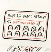 Memes, Smell, and Drawings: HAVE 10 PANIC ATTACKs  GET ONE FREE!  A A A A Panic attacks have a habit of coming in clusters. If you feel one coming on, try a grounding technique like drawing, or looking for 5 things around you that you can see, touch, smell & hear. ❤️