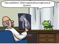 Doctor, Thank You, and Cool: Have a seat Kermit What I'm about to tell you might come as  big shock  90  (C  paisbolocos.com Thank you doctor, very cool