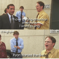 ryan started the fire beets dwightschrute theoffice ryan dwight: have a  tion  everyone  l want to sing  Ryan started the fir ryan started the fire beets dwightschrute theoffice ryan dwight