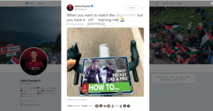 Cookies, Life, and Twitter: Have an account? Log In  Home  About  Chris Froome  Follow  @chrisfroome  When you want to watch the @qcntweet but  you have a  #dauphiné ur 2019  training ride  ITT  casa.it  350  INEOS  SNOT  ROCKET  LIKE A PRO  e 2019 Twitter About Help Centre Terms  Privacy policy Cookies Ads info  Chris Froome  @chrisfroome  HOW TO...  4x @LeTour winner @ LaVuelta winner  @Giroditalia winner | 2x Olympic  medalist @TeamGB @ United4Wild life  @BestBuddies  11:34 am -12 June2019  chris-froome.com  Joined August 2009  1,939 Retweets 15,073 Likes Tweet