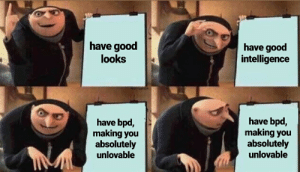 Good, Got, and Bpd: have good  intelligence  have good  looks  have bpd,  making you  absolutely  unlovable  have bpd,  making you  absolutely  unlovable i tried so hard and got so far in the end it doesnt even matter 😔 [oc]