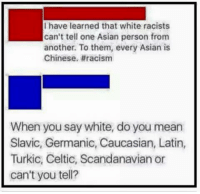 Asian, Celtic, and Memes: have learned that white racists  can't tell one Asian person from  another. To them, every Asian is  Chinese. #racism  When you say white, do you mean  Slavic, Germanic, Caucasian, Latin,  Turkic, Celtic, Scandanavian or  can't you tell? -Jacob