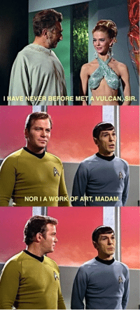 Smooth, Spock, and Work: HAVE NEVER BEFORE M  VULCAN SIR.  NOR IA WORK OF ART, MADAM Spock sure was smooth