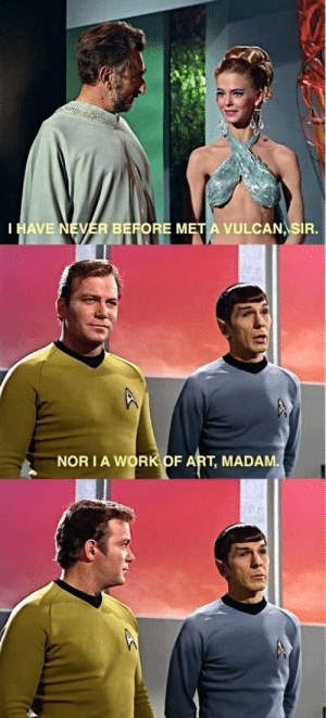 Spock sure was smooth: HAVE NEVER BEFORE M  VULCAN SIR.  NOR IA WORK OF ART, MADAM Spock sure was smooth