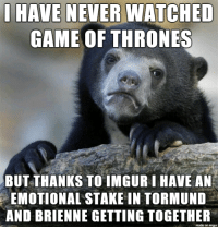 I think theyd be cute together: HAVE NEVER WATCHED  GAME OF THRONES  BUT THANKS TO IMGUR LHAVE AN  EMOTIONAL STAKE IN TORMUND  AND BRIENNE GETTING TOGETHER  made on imgur I think theyd be cute together