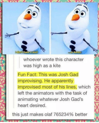 Apparently, Bones, and Memes: have sku  or bones  whoever wrote this character  was high as a kite  Fun Fact: This was Josh Gad  improvising. He apparently  improvised most of his lines, which  left the animators with the task of  animating whatever Josh Gad's  heart desired  this just makes olaf 765234% better